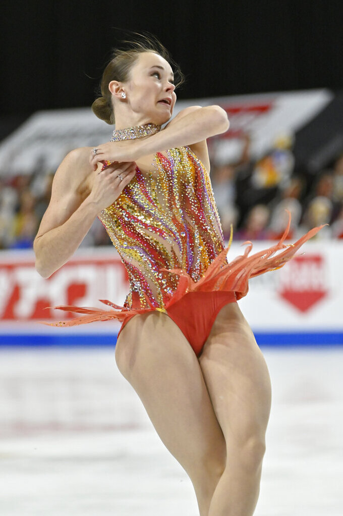 Mariah Bell, of the United States, competes during women's short program in the International Skating Union Grand Prix of Figure Skating Series, Friday, Oct. 23, 2020, in Las Vegas. (AP Photo/David Becker)