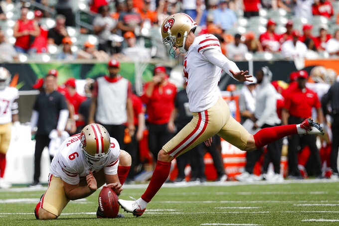 San Francisco 49ers kicker Robbie Gould (9) kicks an extra point during the second half an NFL football game against the Cincinnati Bengals, Sunday, Sept. 15, 2019, in Cincinnati. (AP Photo/Frank Victores)