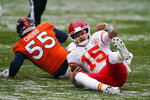 Kansas City Chiefs quarterback Patrick Mahomes (15) gets up after being sacked by Denver Broncos outside linebacker Bradley Chubb (55) during the first half of an NFL football game Sunday, Oct. 25, 2020, in Denver. (AP Photo/Jack Dempsey)
