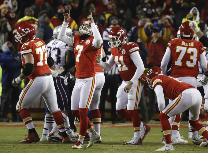 Kansas City Chiefs kicker Harrison Butker (7) celebrates after kicking a field goal during the second half of the AFC Championship NFL football game against the New England Patriots, Sunday, Jan. 20, 2019, in Kansas City, Mo. (AP Photo/Elise Amendola)