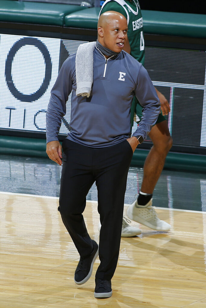 Eastern Michigan coach Rob Murphy stands on the court during the first half of the team's NCAA college basketball game against Michigan State, Wednesday, Nov. 25, 2020, in East Lansing, Mich. (AP Photo/Al Goldis)