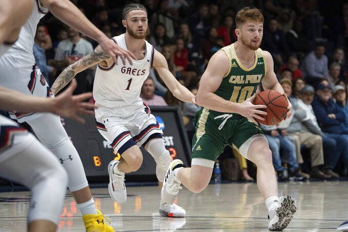 Cal Poly guard Jared Rice (10) drives against Saint Mary's in the second half during an NCAA college basketball game on Sunday, Nov. 17, 2019, in Moraga, Calif. (AP Photo/Don Feria)
