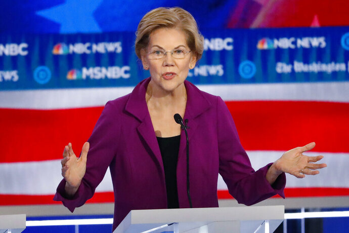 In this Nov. 20, 2019, photo, Democratic presidential candidate Sen. Elizabeth Warren, D-Mass., speaks during a Democratic presidential primary debate in Atlanta. (AP Photo/John Bazemore)