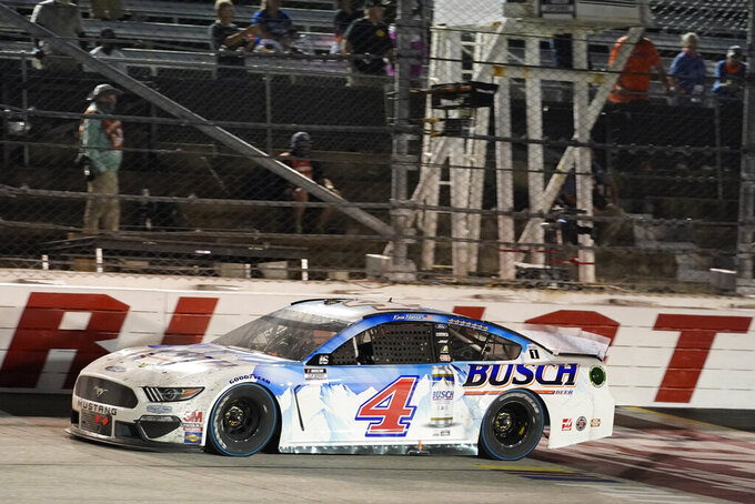Kevin Harvick (4) wins the NASCAR Cup Series auto race, Sunday, Sept. 6, 2020, in Darlington, S.C. (AP Photo/Chris Carlson)