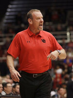 Utah coach Larry Krystkowiak yells during the first half of the team's NCAA college basketball game against Stanford in Stanford, Calif., Thursday, Jan. 24, 2019. (AP Photo/Jeff Chiu)