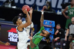 Villanova's Jermaine Samuels (23) shoots over North Texas' James Reese (0) during the first half of a second-round game in the NCAA men's college basketball tournament at Bankers Life Fieldhouse, Sunday, March 21, 2021, in Indianapolis. (AP Photo/Darron Cummings)