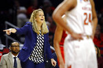 Maryland head coach Brenda Frese directs her players in the first half of a first round women's college basketball game against Radford in the NCAA Tournament, Saturday, March 23, 2019, in College Park, Md. (AP Photo/Patrick Semansky)