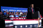 President Donald Trump speaks during a campaign rally at Central Wisconsin Airport, Thursday, Sept. 17, 2020, in Mosinee, Wis. (AP Photo/Evan Vucci)