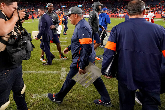 Denver Broncos head coach Vic Fangio leaves the field after an NFL football game against the Kansas City Chiefs, Thursday, Oct. 17, 2019, in Denver. The Chiefs won 30-6. (AP Photo/Jack Dempsey)