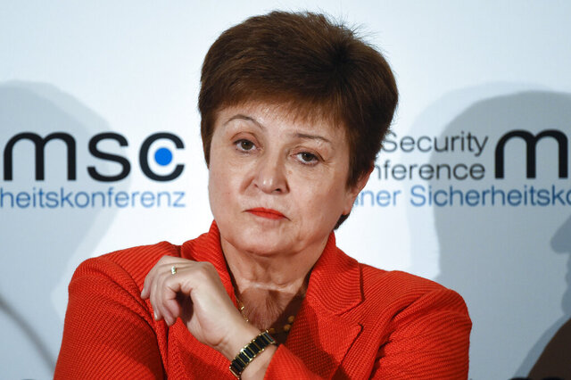 FILE - In this Feb. 14, 2020, file photo, Kristalina Georgieva, Managing Director of the International Monetary Fund, attends a session on the first day of the Munich Security Conference in Munich, Germany. The International Monetary Fund has sharply lowered its forecast for global growth this year because it envisions far more severe economic damage from the coronavirus than it did just two months ago. (AP Photo/Jens Meyer, File)