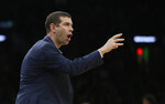Boston Celtics head coach Brad Stevens instructs his team in the first half of an NBA basketball game against the Sacramento Kings, Thursday, March 14, 2019, in Boston. (AP Photo/Elise Amendola)