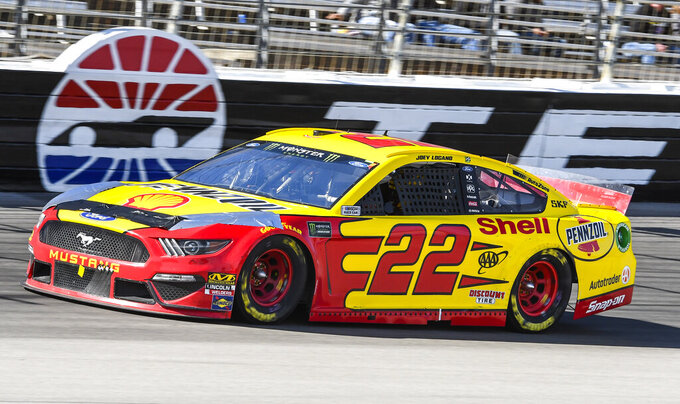 Driver Joey Logano races down the front stretch during a NASCAR Cup auto race at Texas Motor Speedway, Sunday, March 31, 2019, in Fort Worth, Texas. (AP Photo/Larry Papke)
