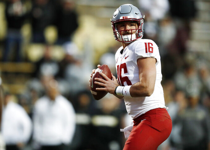 Washington State quarterback Gardner Minshew looks to pass the ball against Colorado in the second half of an NCAA college football game Saturday, Nov. 10, 2018, in Boulder, Colo. Washington State won 31-7. (AP Photo/David Zalubowski)