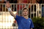 Russia's Andrey Rublev celebrates his win against South Africa's Lloyd Harris during their Adelaide International tennis match in Adelaide, Saturday, Jan. 18, 2020. (AP Photo/James Elsby)