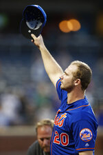 New York Mets' Pete Alonso, who set the MLB rookie home run record after surpassing the Yankees' Aaron Judge, waves to the crowd after he was removed from the Mets final baseball game of the season, Sunday, Sept. 29, 2019, in New York. (AP Photo/Kathy Willens)