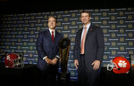 FILE - In this Jan. 10, 2016, file photo, Alabama head coach Nick Saban, left, and Clemson head coach Dabo Swinney pose for a picture during a news conference for the NCAA college football playoff championship game, in Glendale, Ariz. The Tigers are set to square off against the Crimson Tide for the fourth straight year in the College Football Playoff in Monday night's, Jan. 7, 2019,  title game. While most of the players have changed since Alabama won the first meeting for the championship in January 2016, the coaches have remained the same.(AP Photo/Chris Carlson, File)