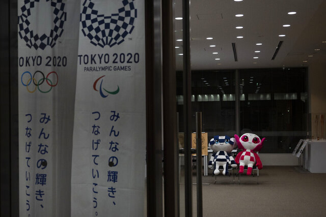 Miraitowa and Someity, mascots for the Tokyo 2020 Olympics and Paralympics are seen in Tokyo, Tuesday, March 24, 2020. IOC President Thomas Bach has agreed