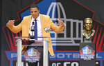 Former NFL player Tony Gonzalez speaks during the induction ceremony at the Pro Football Hall of Fame, Saturday, Aug. 3, 2019, in Canton, Ohio. (AP Photo/David Richard)