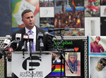 Rep. Darren Soto, D-Fla. makes comments during a news conference to introduce legislation that would designate the Pulse nightclub site as a national memorial, Monday, June 10, 2019, in Orlando, Fla. (AP Photo/John Raoux)