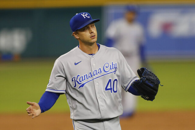 Kansas City Royals relief pitcher Trevor Rosenthal reacts after the last out in the ninth inning of a baseball game against the Detroit Tigers, Thursday, July 30, 2020, in Detroit. (AP Photo/Carlos Osorio)