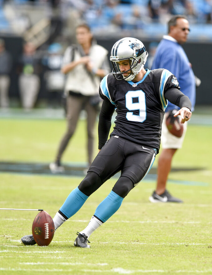 FILE - In this Nov. 4, 2018, file photo, Carolina Panthers kicker Graham Gano warms up prior to the start of an NFL football game against the Tampa Bay Buccaneers in Charlotte, N.C. The Panthers have placed Gano on injured reserve with a leg injury. Under NFL rules, he cannot return for the remainder of the season. (AP Photo/Mike McCarn, File)