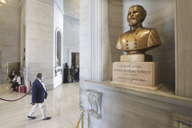 A bust of Nathan Bedford Forrest is displayed in the Tennessee State Capitol Tuesday, June 9, 2020, in Nashville, Tenn. Tennessee lawmakers remain torn on whether to support a proposal for the removal of a contentious bust of the former Confederate general and early leader of the Ku Klux Klan. If approved by the GOP-controlled Legislature, the measure encourages the bust of Forrest be removed from the Tennessee Capitol and instead be replaced with an