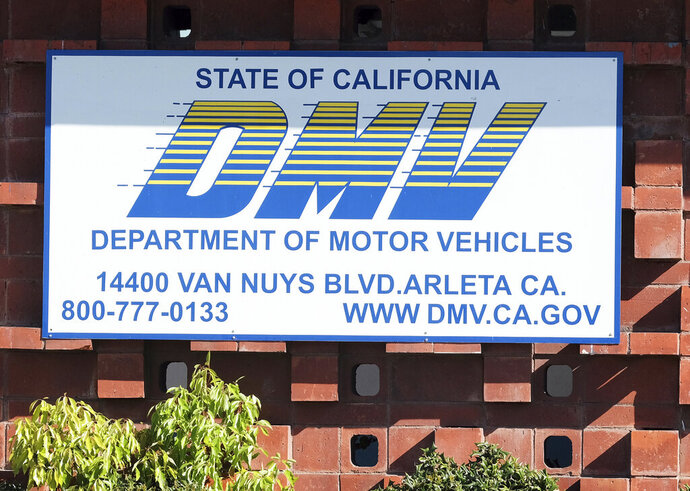 The California Department of Motor Vehicles office in the Arleta neighborhood of Los Angeles is seen Tuesday, April 9, 2019. A soccer fan claims in a lawsuit that the California DMV violated his First Amendment rights by rejecting a personalized license plate he said would celebrate his favorite team, but which the DMV said might be deemed offensive. The lawsuit says Jon Kotler applied for a plate that would read COYW, an abbreviation of