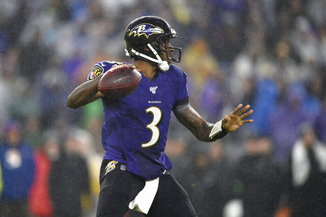 Baltimore Ravens quarterback Robert Griffin III throws a pass against the Pittsburgh Steelers during the first half of an NFL football game, Sunday, Dec. 29, 2019, in Baltimore. (AP Photo/Gail Burton)