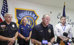 Mandeville Police Chief Gerald Stricker, addressees the media and public, after one of his officers was killed and the other wounded in a shooting, after attempting a traffic stop in Mandeville, La., Friday, Sept. 20, 2019.   (David Grunfeld/The Advocate via AP)