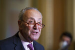 Senate Majority Leader Chuck Schumer, D-N.Y., speaks to reporters after a Democratic policy meeting at the Capitol in Washington, Tuesday, Sept. 28, 2021, as work continues behind the scenes on President Joe Biden's domestic agenda and a bill to fund the the government. (AP Photo/J. Scott Applewhite)