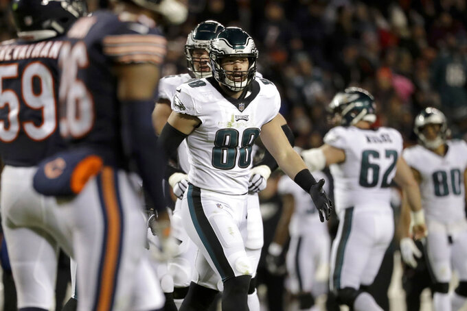 Philadelphia Eagles tight end Dallas Goedert (88) celebrates a touchdown during the second half of an NFL wild-card playoff football game against the Chicago Bears Sunday, Jan. 6, 2019, in Chicago. (AP Photo/Nam Y. Huh)