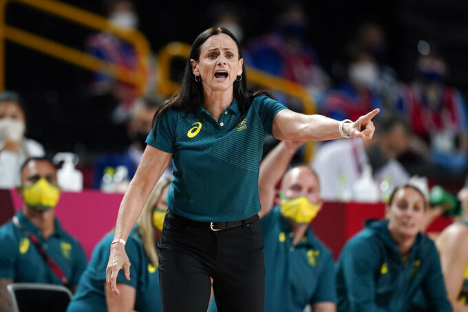 Australia head coach Sandy Brondello directs her team during a women's basketball preliminary round game against Belgium at the 2020 Summer Olympics, Tuesday, July 27, 2021, in Saitama, Japan. (AP Photo/Charlie Neibergall)