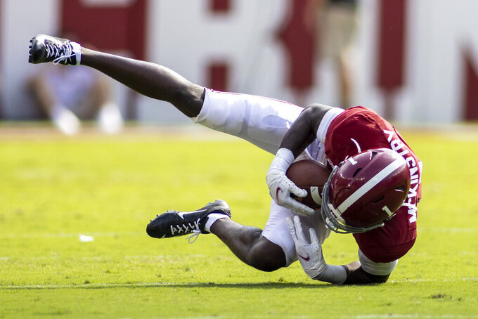 Alabama defensive back Kool-Aid McKinstry (1) intercepts a pass during the first half of an NCAA college football game against Mercer, Saturday, Sept. 11, 2021, in Tuscaloosa, Ala. (AP Photo/Vasha Hunt)