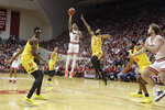Indiana's Armaan Franklin (2) shoots against Maryland's Eric Ayala (5) during the first half of an NCAA college basketball game, Sunday, Jan. 26, 2020, in Bloomington, Ind. (AP Photo/Darron Cummings)
