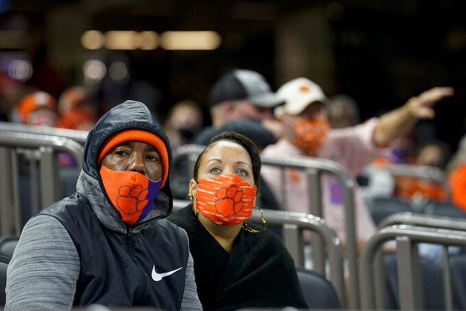 Clemson fans watches during the second half of the Sugar Bowl NCAA college football game against Ohio State Friday, Jan. 1, 2021, in New Orleans. (AP Photo/Gerald Herbert)