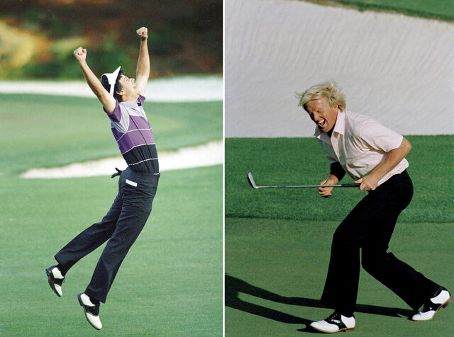 FILE - At left, in an April 12, 1987, file photo, Larry Mize jumps in the air after making the winning shot in a sudden death playoff over Seve Ballesteros and Greg Norman to win the Masters golf tournament in Augusta, Ga. At right, also in an April 12, 1987, file photo, Greg Norman reacts to a missed birdie shot on the 18th hole during the final round of the Masters in Augusta. (AP Photo/File)