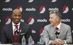 Neil Olshey, right, and Chauncey Billups talk to media after Billups was announced as the head coach of the Portland Trail Blazers at the team's practice facility in Tualatin, Ore., Tuesday, June 29, 2021. (AP Photo/Craig Mitchelldyer)
