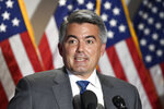 Sen. Cory Gardner, R-Colo., speaks to reporters following the weekly Republican policy luncheon on Capitol Hill in Washington, Tuesday, June 9, 2020. (AP Photo/Susan Walsh)