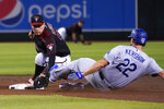 Los Angeles Dodgers' Clayton Kershaw (22) is tagged out by Arizona Diamondbacks second baseman Wilmer Flores while trying to reach on a double in the third inning during a baseball game Saturday, Aug. 31, 2019, in Phoenix. (AP Photo/Rick Scuteri)