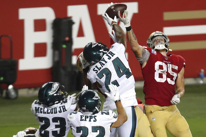 Philadelphia Eagles cornerback Darius Slay (24) defends a pass in the end zone next to San Francisco 49ers tight end George Kittle (85) during the second half of an NFL football game in Santa Clara, Calif., Sunday, Oct. 4, 2020. (AP Photo/Jed Jacobsohn)