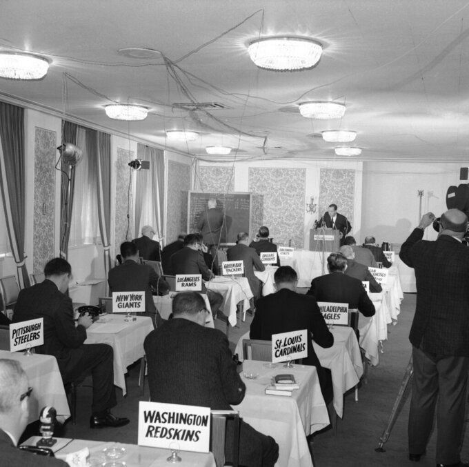 FILE - This Nov. 26, 1964, file photo shows a general view of the National Football League draft meeting in New York.  (AP Photo/John Lindsay)
