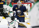 Buffalo Sabres goalie Carer Hutton (40) looks on during the second period of an NHL hockey game against the Dallas Stars, Monday, Oct. 14, 2019, in Buffalo N.Y. (AP Photo/Jeffrey T. Barnes)