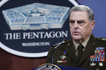 Joint Chiefs of Staff Gen. Mark Milley speaks during a briefing with Secretary of Defense Lloyd Austin at the Pentagon in Washington, Wednesday, Sept. 1, 2021, about the end of the war in Afghanistan. (AP Photo/Susan Walsh)