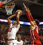 Texas Tech's Jarrett Culver (23) shoots in front of Oklahoma's Jamuni McNeace (4) during the first half of an NCAA college basketball game Tuesday, Jan. 8, 2019, in Lubbock, Texas. (AP Photo/Brad Tollefson)