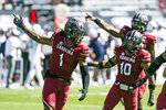 South Carolina defensive back Jaycee Horn (1) celebrates an interception against Auburn during the first half of an NCAA college football game Saturday, Oct. 17, 2020, in Columbia, S.C. (AP Photo/Sean Rayford)