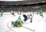 Dallas Stars left wing Blake Comeau (15) falls to the ice after being checked by Nashville Predators left wing Austin Watson (51) in the first period of the NHL Winter Classic hockey game at the Cotton Bowl, Wednesday, Jan. 1, 2020, in Dallas. (AP Photo/Jeffrey McWhorter)
