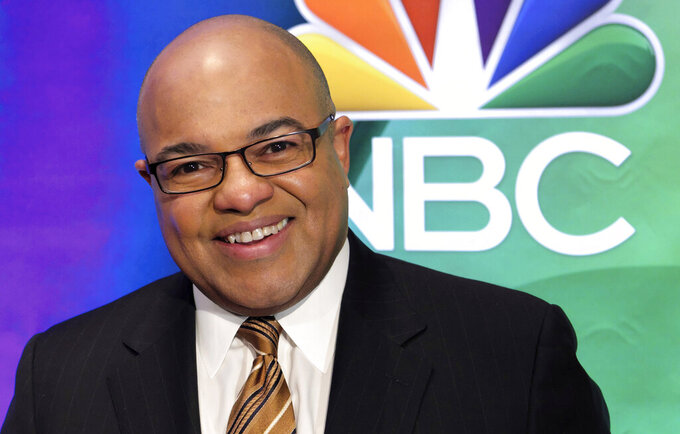 FILE - In this March 2, 2017, file photo, Mike Tirico attends the NBC Universal mid-season press day at the Four Seasons in New York. NBC Sports will use Tirico as the host of its inaugural Indianapolis 500 coverage in May, network executives announced Friday, Feb. 15, 2019. (Photo by Charles Sykes/Invision/AP, File)