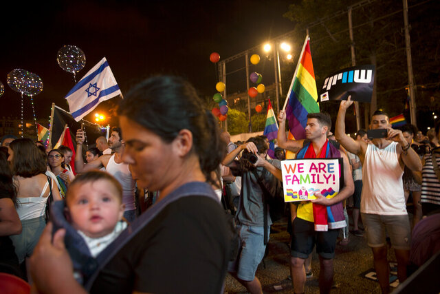 FILE - In this July 22, 2018 file photo, Israelis wave flags and hold signs during a rally to protest against inequality for the LGBT community in Tel Aviv, Israel. Israel's Supreme Court struck down a surrogacy law that critics said discriminated against same-sex couples. The 2018 law expanded access to surrogacy in Israel to single women but excluded gay couples and its passage sparked uproar in the LGBT community. In its decision Thursday, Feb. 27, 2020, the court said that the law harmed the right to equality and the right to parenthood. (AP Photo/Sebastian Scheiner, File)
