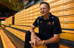 In this undated photo Oregon State University volleyball coach Mark Barnard poses for a photo in Corvallis, Ore. Players, parents and observers of the program tell The Associated Press that Barnard runs punishment practices past the point of safety, uses scholarships as leverage and pits players against each other in team meetings. The school says an investigation into the program has concluded and appropriate action has been taken to address the complaints. (Godofredo Vasquet/Albany Democrat-Herald via AP)