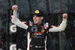 Noah Gragson celebrates in Victory Lane after winning the NASCAR Xfinity series auto race at Daytona International Speedway, Saturday, Feb. 15, 2020, in Daytona Beach, Fla. (AP Photo/Terry Renna)